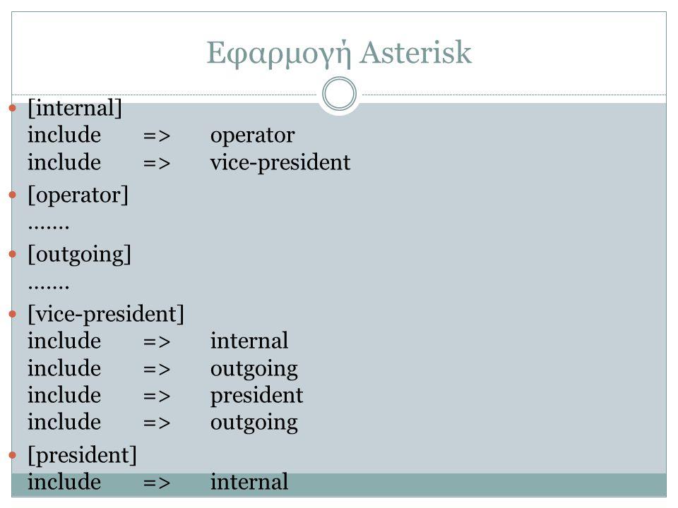 Εφαρμογή Asterisk [internal] include => operator include => vice-president. [operator] ……. [outgoing] …….